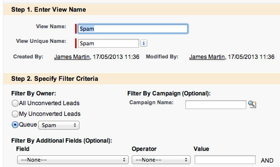 Viewing Spam Leads in Salesforce - Creating a View